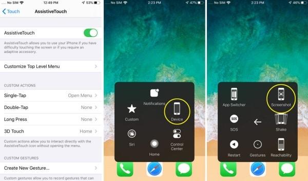 Hầu hết các dòng iPhone đều có thể sử dụng nút Home ảo để chụp màn hình