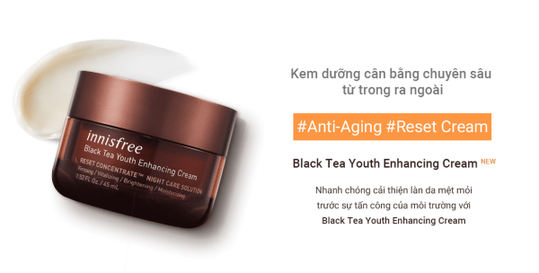 Innisfree Black Tea Youth Enhancing Cream sở hữu nhiều công dụng