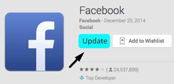 Đừng quên cập nhật phiên bản mới nhất cho Facebook