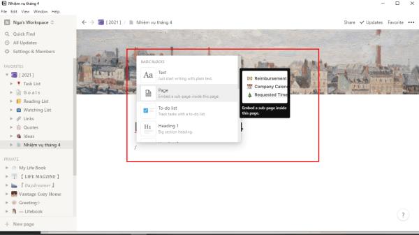 Những block (chức năng) bạn có thể sử dụng trên Page