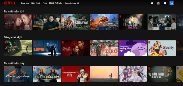 List phim trên Netflix