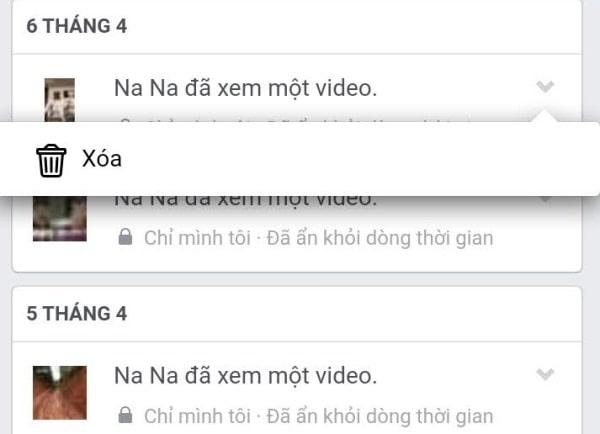 Xóa video đã xem trên điện thoại