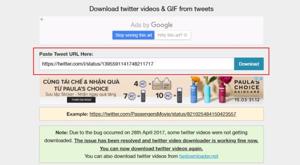 Cách tải ảnh từ Twitter bằng Twitter Video Downloader: Bước 2