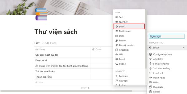 Cột Ngôn ngữ để định dạng là Select